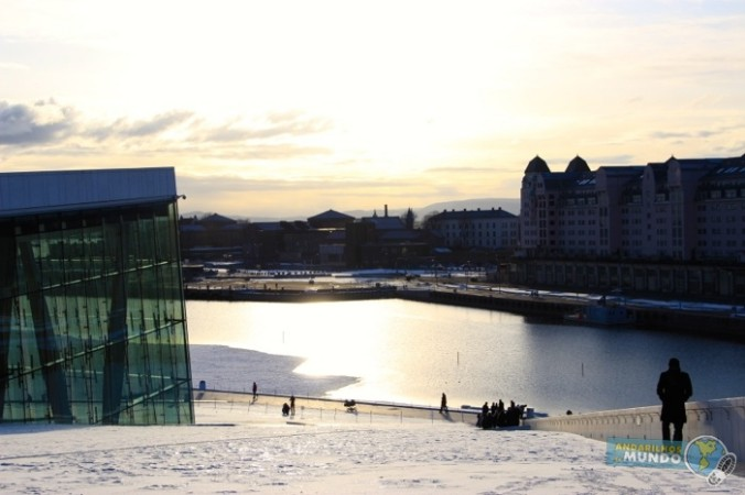 Oslo Noruega Opera no Por do Sol